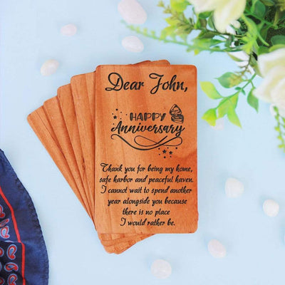 Personalized Anniversary Cards. A Set Of Wooden Anniversary Cards Customized With Your Own Anniversary Wishes. Wooden cards gifted as anniversary cards for husband, anniversary cards for wife, anniversary cards for parents, anniversary cards for friends, anniversary cards for boyfriend, anniversary cards for girlfriend.