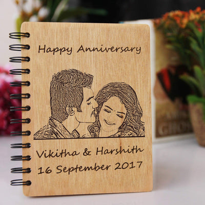 Happy Anniversary Engraved Wooden Notebook. This Personalised Diary Can be Engraved With Photo & Anniversary wishes. These Custom Notebooks Make Great Personalised Anniversary Gifts. This Photo-Engraved Wooden Notebook With Anniversary Wishes Is The Best Photo Gift And Romantic Gift.