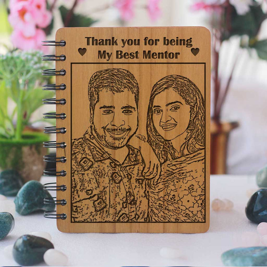 Thank You For Being The Best Mentor Personalized Wooden Notebook. This personalised diary with photo is the best gift for teachers day. This spiral notebook also makes a great birthday gift for teacher, farewell gift for teacher or thank you teacher gifts.