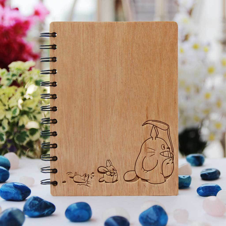 Totoro Wooden Notebook For Japanese Anime fans. These Studio Ghibli Personalized Notebooks Make The Best Kawaii Gifts For Friends.