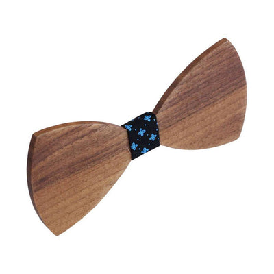 Bow Ties - The  Deshpande - Brown Wooden Bow Tie - Black Star
