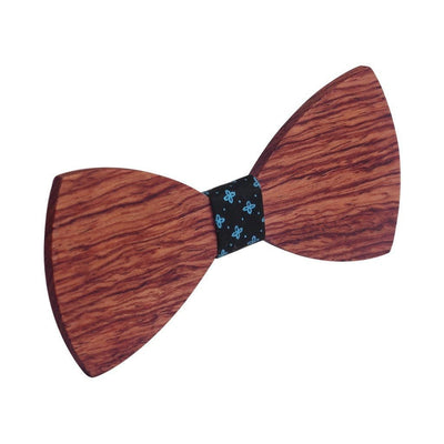 Bow Ties - The Riba - Red Wooden Bow Tie - Black Star