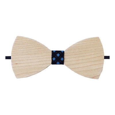 Bow Ties - The Sherpa - White Wooden Bow Tie - Black Star