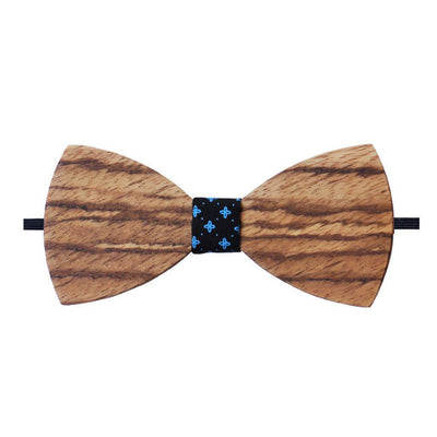 Bow Ties - The Sodhi - Brown Wooden Bow Tie - Black Star