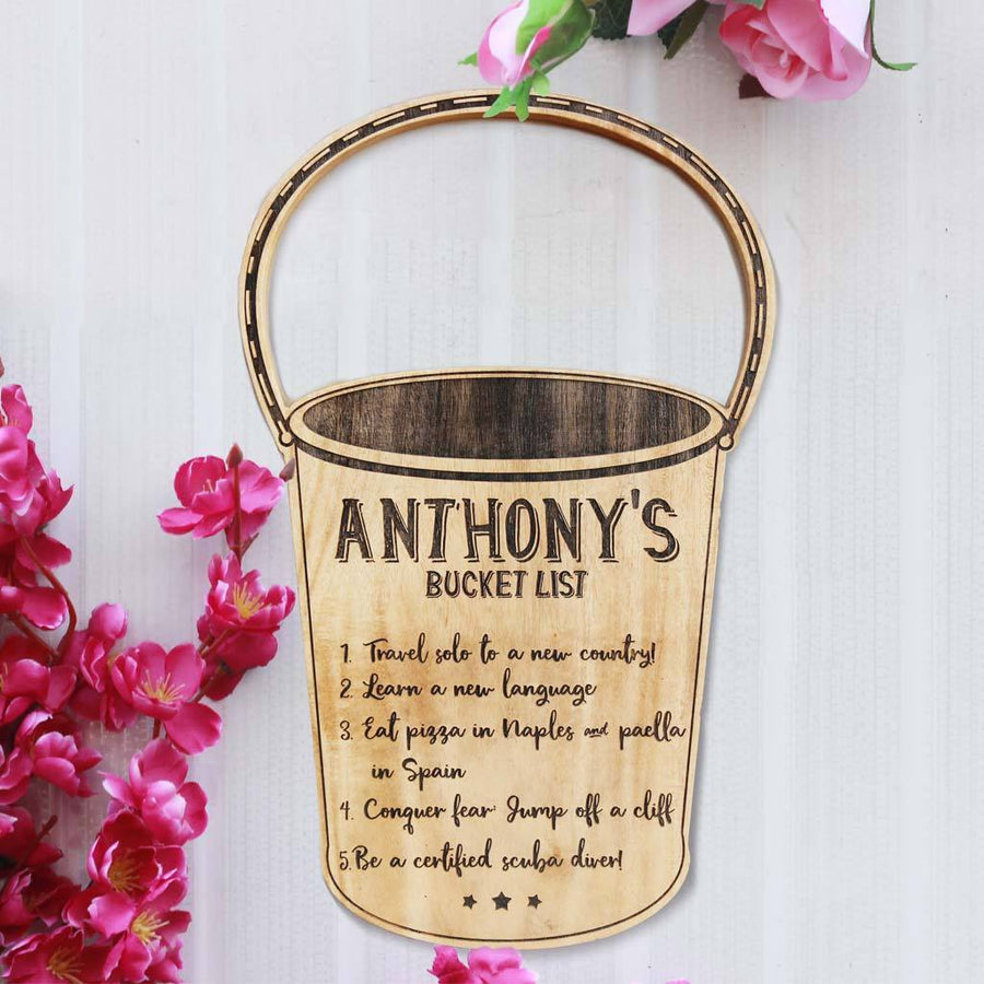My Bucket List Wood Sign - Bucket List Bucket - Personalized wood signs - Rustic wood signs - Carved signs - Bucket list ideas before you die - Cool bucket list ideas - Woodgeek Store