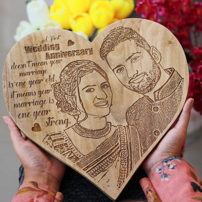Best Romantic Gifts - Personalized Gifts for Him & Her - Customized Wooden Poster - Heart Shaped Wooden Plaque - Woodgeek Store