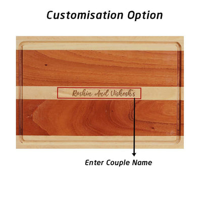 Personalized Cutting Board Engraved With Couple Name - Wooden Chopping Board