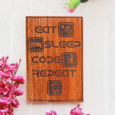 Eat Sleep Code Repeat Wooden Sign for Coders - Best Gifts for Geeks - Woodgeek Store