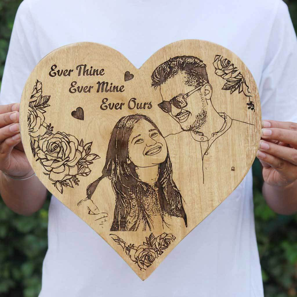 Ever Thine Ever Mine Ever Ours Wooden Poster - Personalized Wooden Photo Frame - Custom Engraved Wooden Plaque in Mahogany - Woodgeek Store