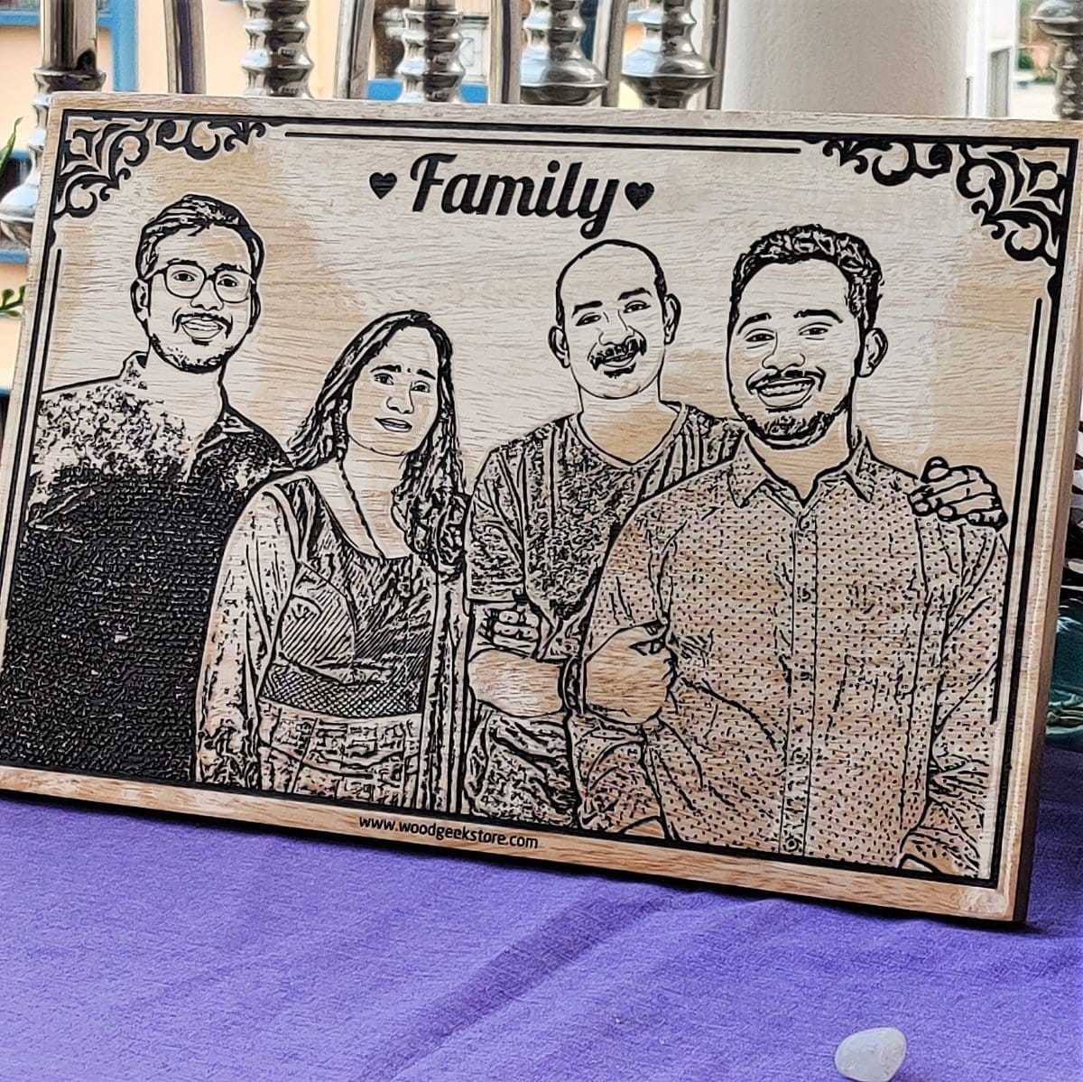 Wood Engraved Photo Of Family - Wooden Poster
