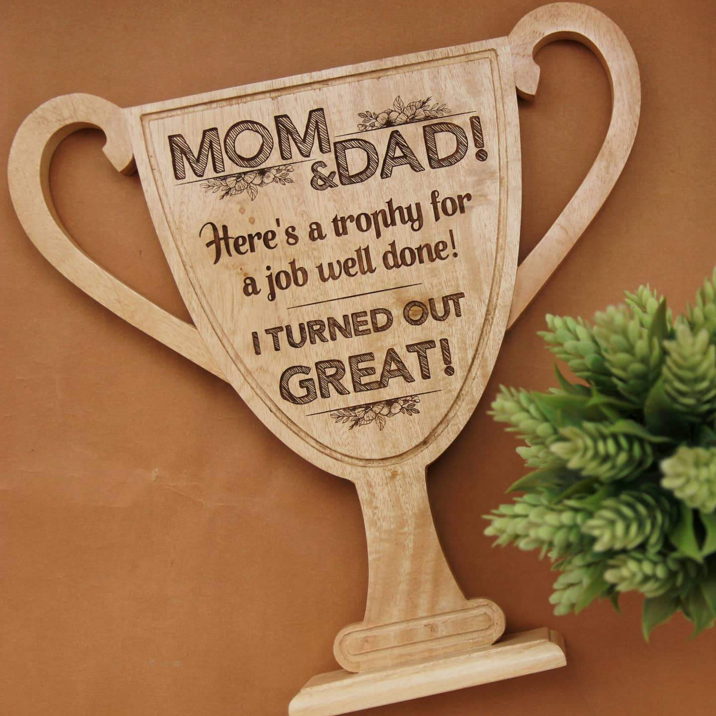 Wooden Trophy & Award for Mom & Dad