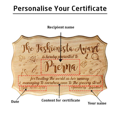 The Fashionista Award  Funny Certificates of Recognition  Custom ...