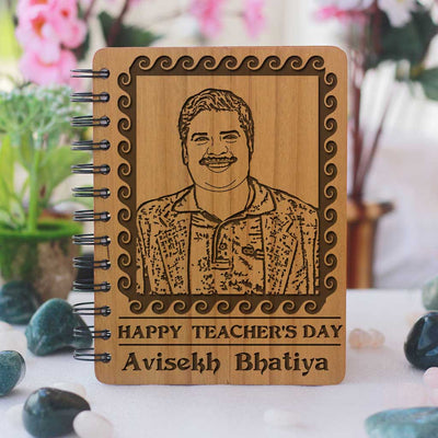 Personalized Wooden Notebook For Teacher's Day. This Personalised Diary With Photo Is The Best Gift For Teachers Day. This Spiral Notebook Makes One Of The Best Teacher Appreciation Gifts.