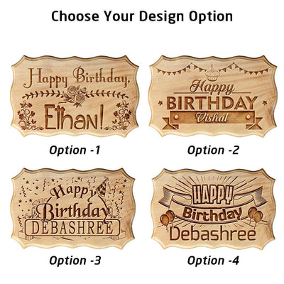 Personalized Happy Birthday Engraved Wood Sign