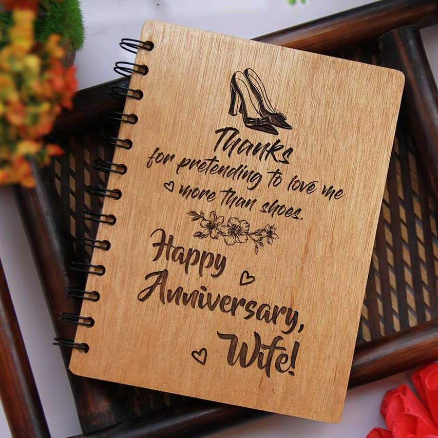 Happy Anniversary, Husband/Wife - Personalized Wooden Notebook