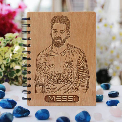Notebook - Football: Messi - Bamboo Wood Notebook