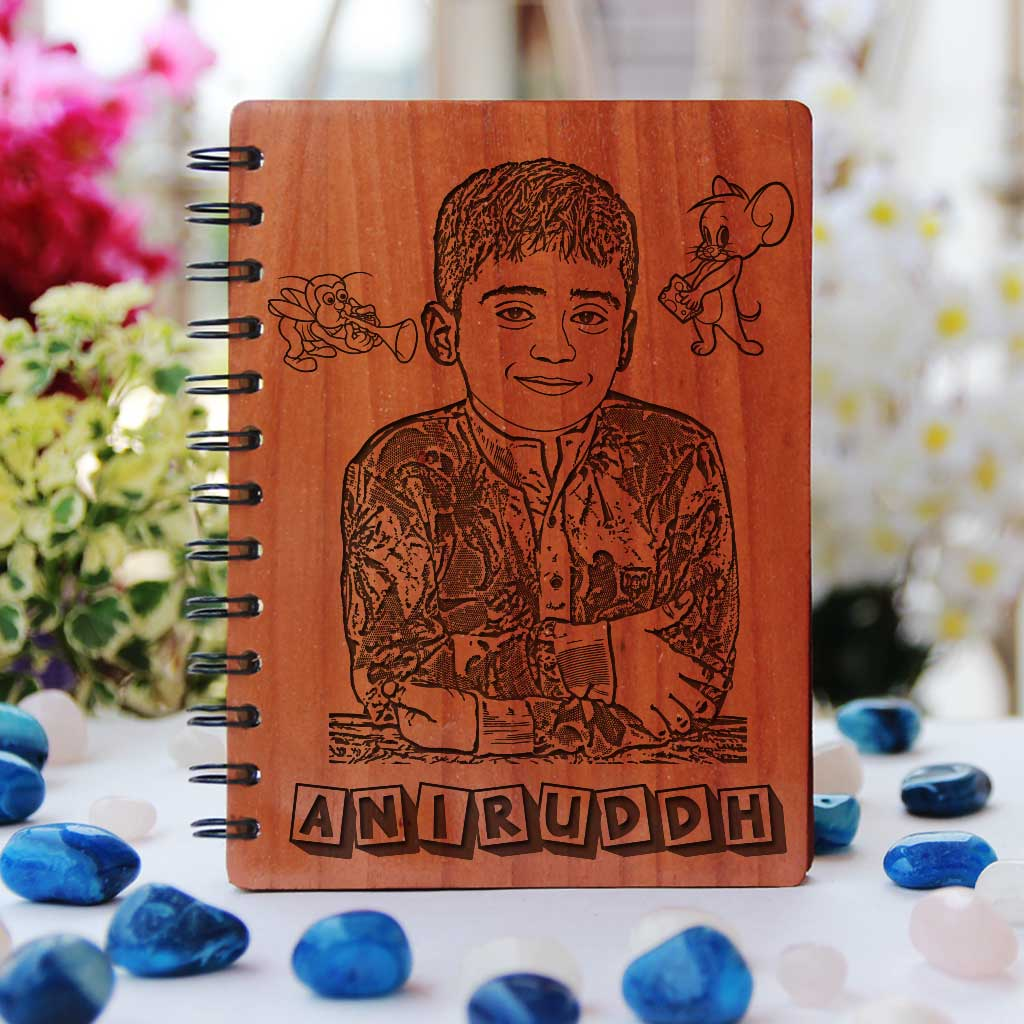 A Wooden Notebook Personalised with Photo. Unique Gifts For Kids. Birthday Gifts For kids. Return Gifts For Kids