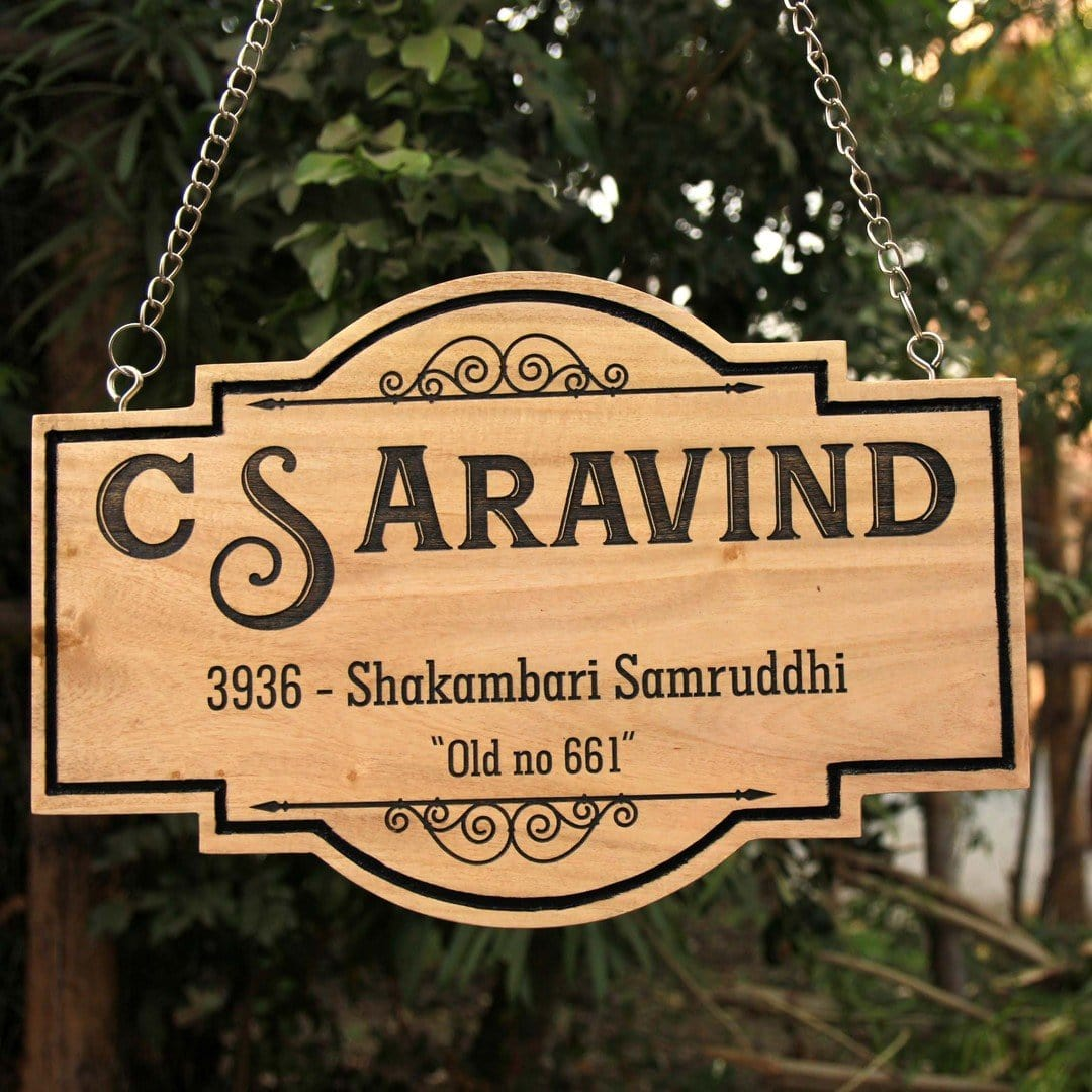 Logo Engraved Hanging Wooden Sign for Office