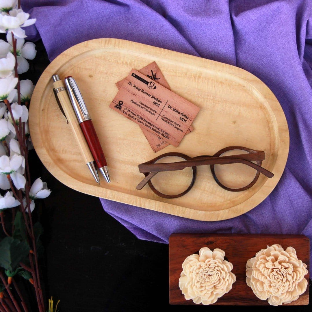 Wooden Oval Tray for Office