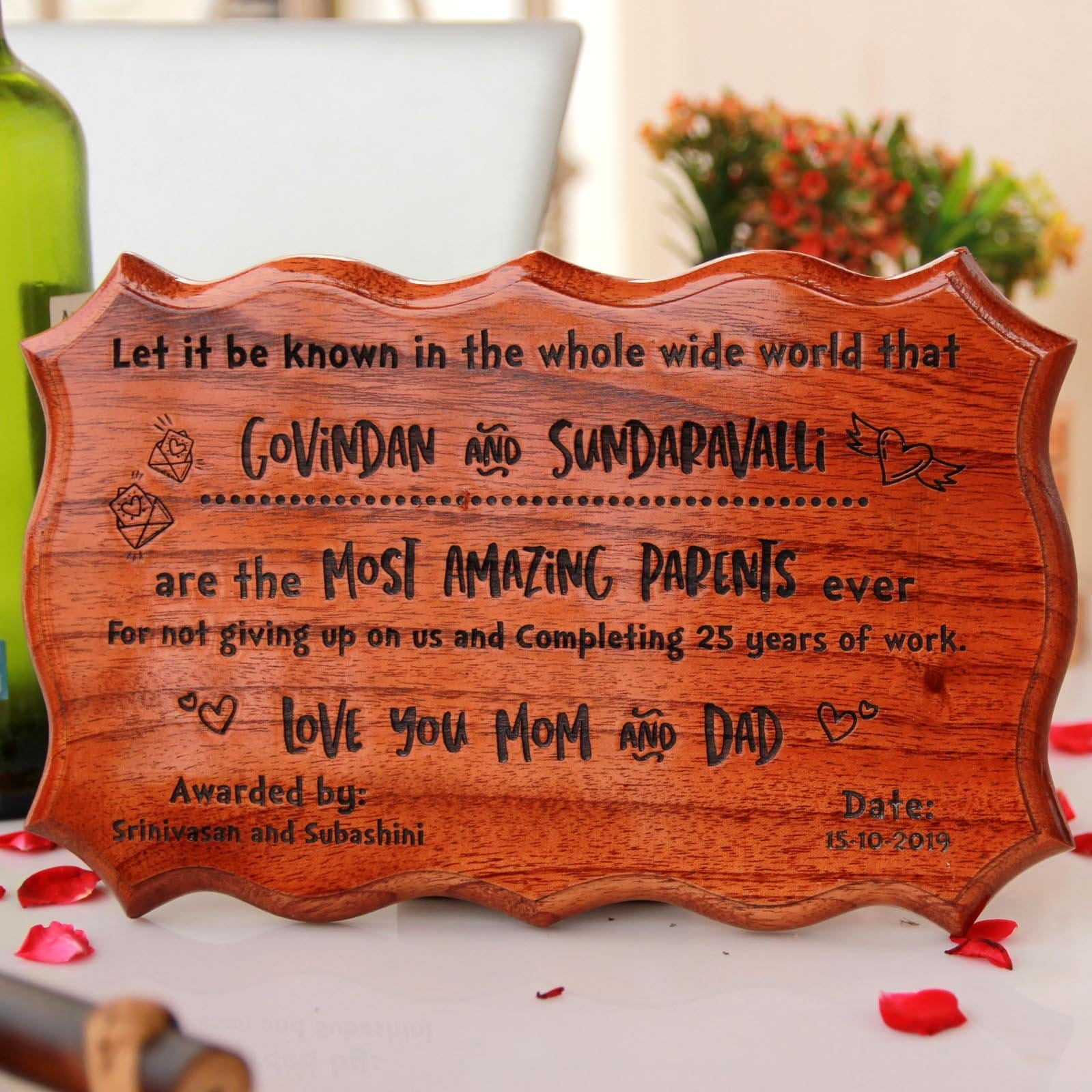 Certificate of Appreciation For The Most Amazing Parents Ever. This Wooden Certificate Makes Great Anniversary Gifts For Parents. This Certificate of Recognition Makes Great Gifts for Mom and Dad.
