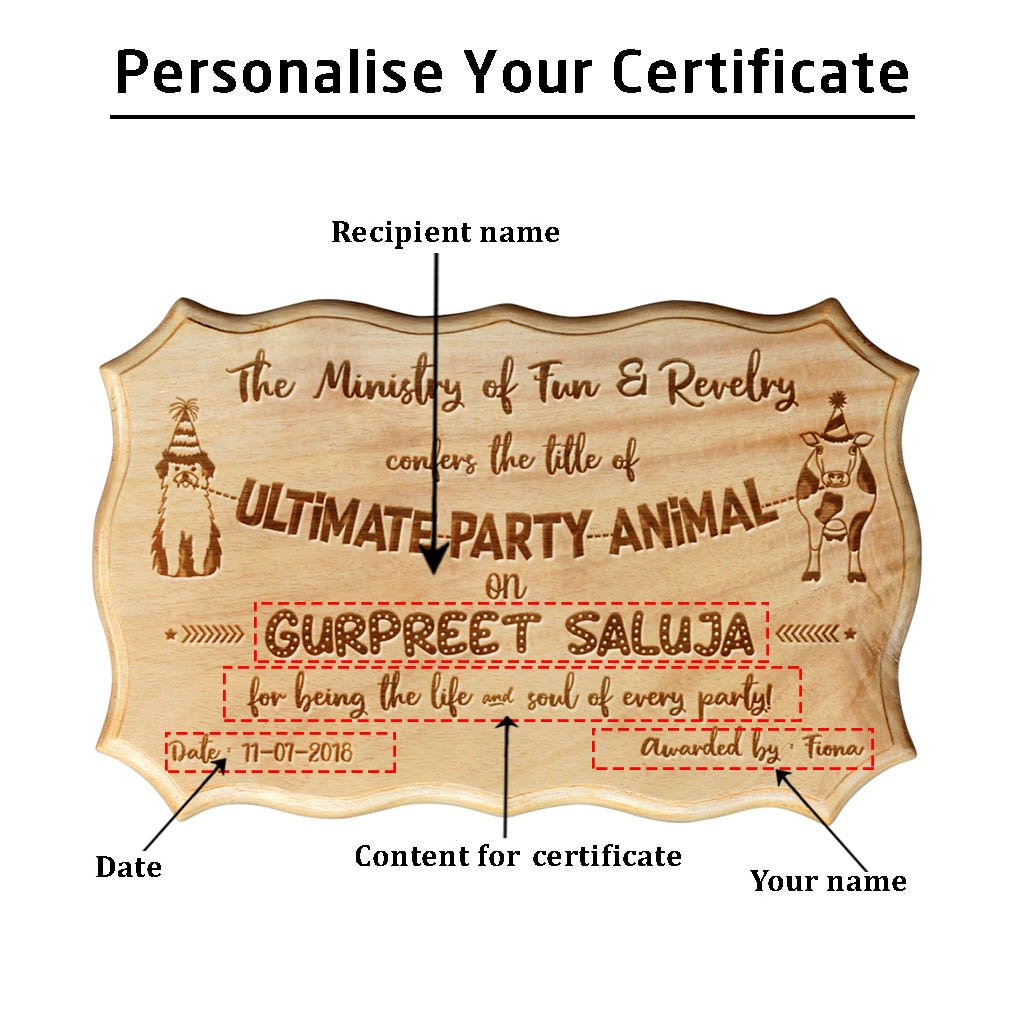 Ultimate Party Animal Funny Award Certificate For Friends