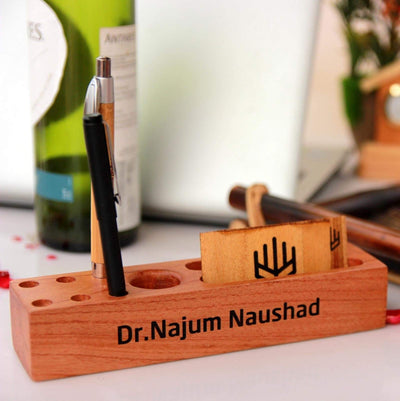 Pen Holder For Desk & Desk Organizer. This personalized desk organizer can be engraved with your business logo and text of your choice.