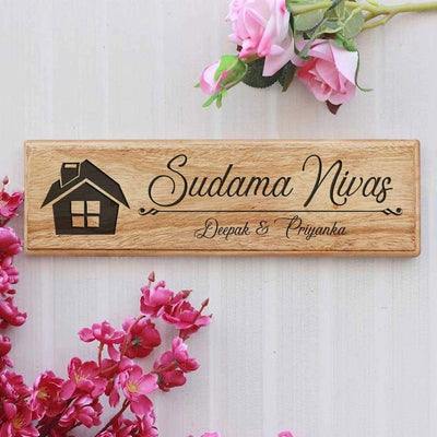 Wooden House Name Signs - Wooden Nameplates for Home  - Personalized Family Name Signs by Woodgeek Store