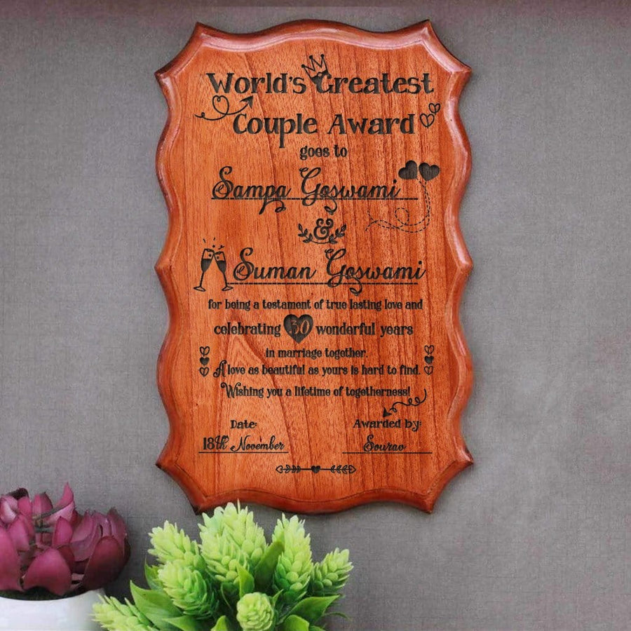 Personalized World's Greatest Couple Certificate. This World's Greatest Couple Engraved Award Certificates Makes One Of The Most Unique Gifts for Couples. If You Are Looking For Anniversary Gifts For The Best Couple You Know, These Custom Wooden Certificates By Woodgeek Store Make The Best Gifts You Can Present To Them.