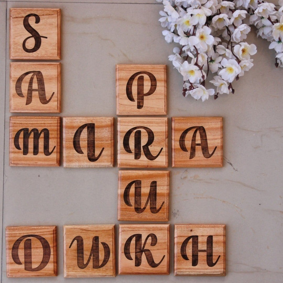 Personalized Family Tree Wooden Crossword Wall Art