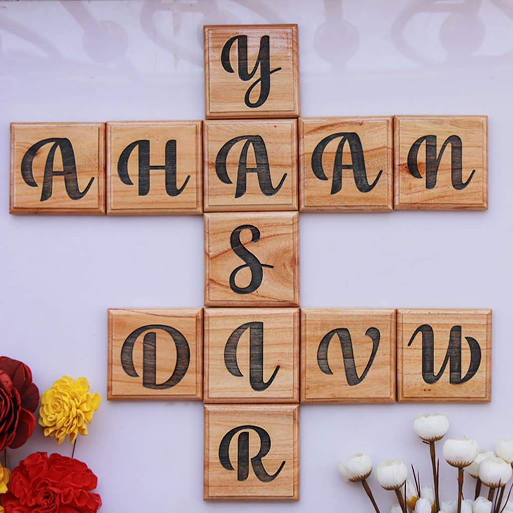 Personalized Family Tree Wooden Crossword Wall Art Home Decor Gifts Woodgeekstore