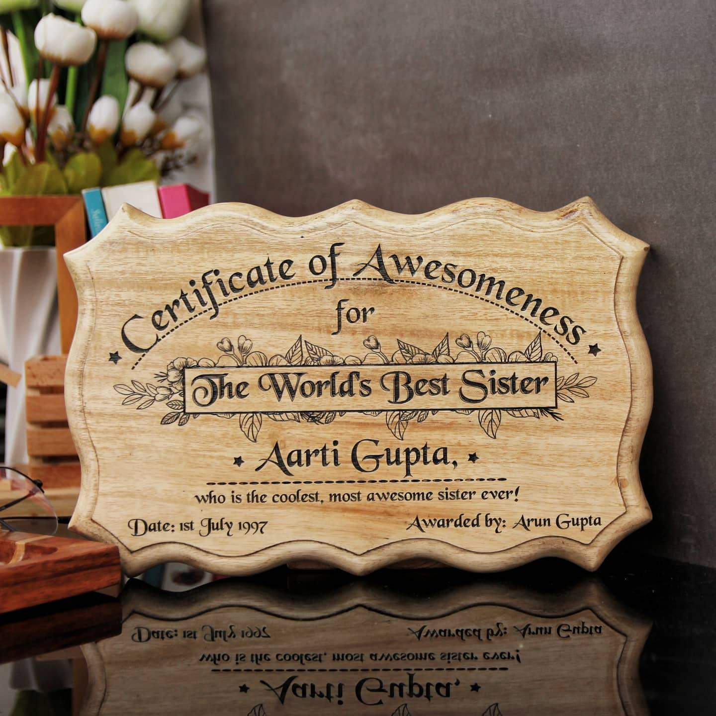 Wooden Certificate of Awesomeness for World's Best Sister