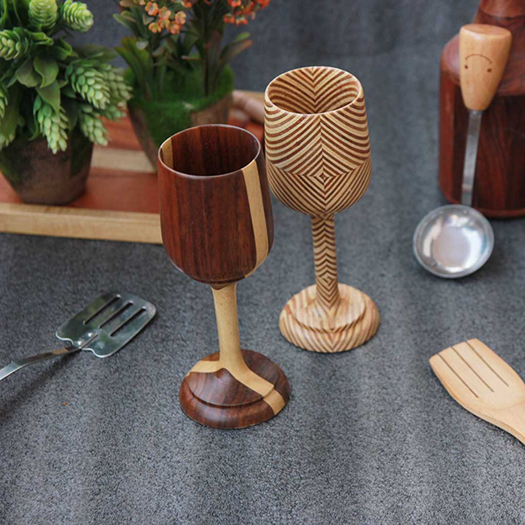 set of 2 wooden port glasses & Christmas wine glasses made from black sirish wood and patterned ply by woodgeekstore