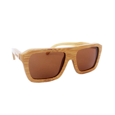 Custom Wood Sunglasses by Woodgeek Store - Best Polarized Sunglasses - Bamboo Sunglasses personalized with a name - The Biker Sunglasses - Brown Rectangular Sunglasses