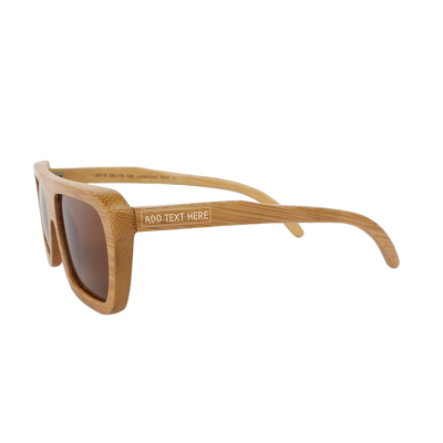 Wooden Sunglasses personalized with a name - The Biker Sunglasses - Brown Bamboo Sunglasses - Rectangular Sunglasses by Woodgeek Store