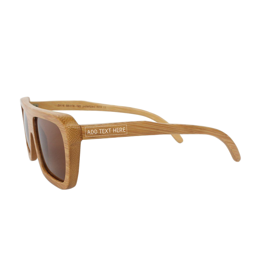 Custom Wood Sunglasses with best polarized lenses by Woodgeek Store - Bamboo Sunglasses personalized with a name - The Biker Sunglasses - Brown Rectangular Sunglasses