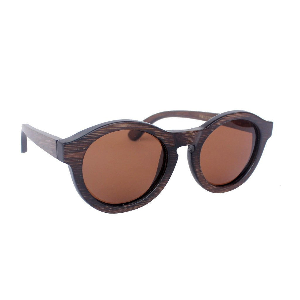 f6e1a5a67e3f7 Wooden round sunglasses - Hipster charcoal bamboo - custom engraved ...