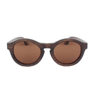 SUNGLASSES - The Hipster - Charcoal Bamboo Wood Round Sunglasses