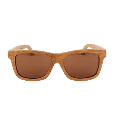 SUNGLASSES - The Journeyman - Brown Bamboo Wood Square Sunglasses