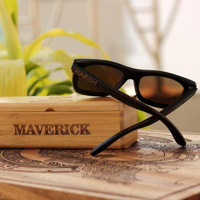 SUNGLASSES - The Journeyman - Charcoal Bamboo Wood Square Sunglasses