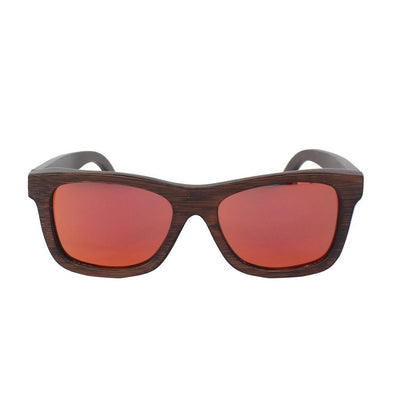 SUNGLASSES - The Journeyman Charcoal Wooden Square Sunglasses - Red Mirror Lens