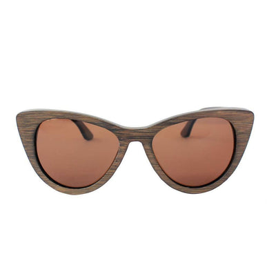 SUNGLASSES - The Librarian - Charcoal Bamboo Cateye Wooden Sunglasses