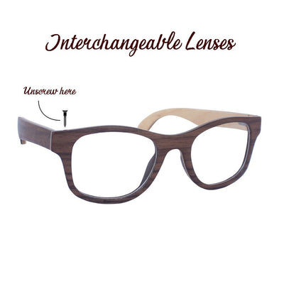 SUNGLASSES - The Minimalist - Walnut Wooden Square Spectacles