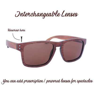 SUNGLASSES - The Navigator - Rosewood Wooden Rectangular Sunglasses