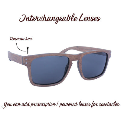 SUNGLASSES - The Navigator - Walnut Wood Rectangular Sunglasses