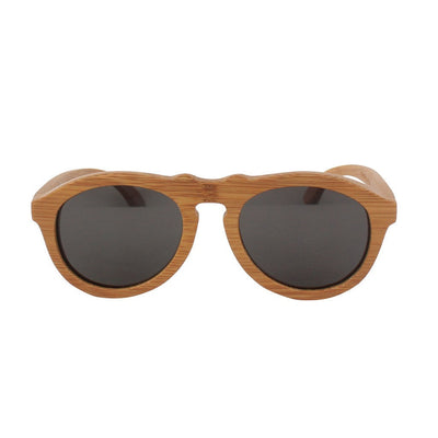 SUNGLASSES - The Retro - Brown Bamboo Wood Round Sunglasses