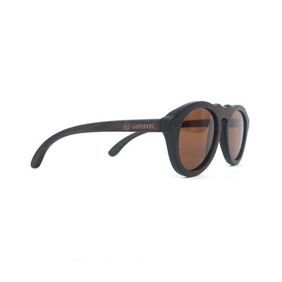 SUNGLASSES - The Retro - Charcoal Bamboo Wood Round Sunglasses