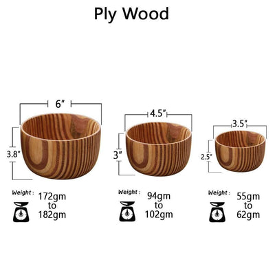 set of 3 wooden bowl sizes by woodgeekstore patterned ply variant
