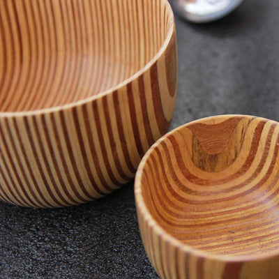 wooden bowls made from patterned ply closeup by woodgeekstore