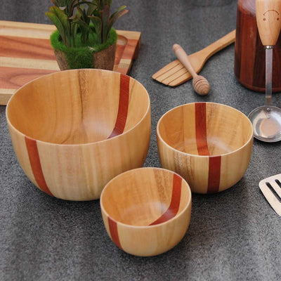 Wooden bowls set of 3 made from birch wood by woodgeekstore
