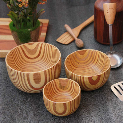 Wooden bowls set of 3 made from patterned ply by woodgeekstore